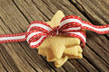 Star shaped cookies with red ribbon Stock Images