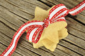 Star shaped cookies with red ribbon Royalty Free Stock Photography