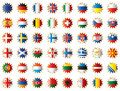 Star shaped flags set - Europe Royalty Free Stock Photos
