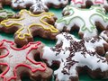 Star shaped gingerbread cookies seasonal with icing Stock Image