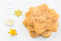 Star shaped shugar cookies close up on a white background Stock Images