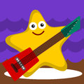 Star of the show a funny illustration a starfish on stage with an electric guitar Royalty Free Stock Images