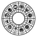 Star signs astrology zodiac horoscope icon set Royalty Free Stock Photo