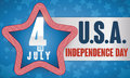 Star With Stripped Border With Label For Independence Day Celebration, Vector Illustration