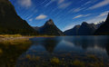 Star trail from Milford sound. Royalty Free Stock Photo