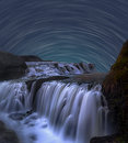 Star Trail with Waterfall Royalty Free Stock Photo