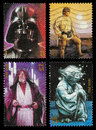Star wars character postage stamps set of four used printed in the united states showing darth vader luke skywalker obi wan kenobi Stock Images