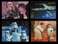 Star wars character postage stamps set of four used printed in the united states showing han solo and chewbacca x wing fighter Royalty Free Stock Image