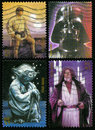 Star wars us postage stamps united states circa four each depicting a character from the movies luke skywalker darth vader yoda Stock Image
