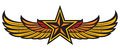 Star and wings eagle yellow badge Royalty Free Stock Images