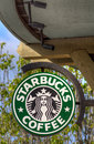 Starbucks coffee sign salinas ca usa april in at shop is an american global company and Royalty Free Stock Photo