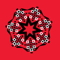 Starburst geometric medallion on red graphic design of a heptagon design in black and white Royalty Free Stock Image