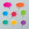 Starburst speech bubbles set of blank colorful paper Royalty Free Stock Photography