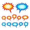 Starburst speech bubbles set of red and blue Stock Images
