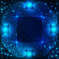 Stardust decorative frame on blue gradient background with twinkling stars and lights Royalty Free Stock Photo