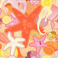 Starfish background in crustacean vector illustration of a Royalty Free Stock Images