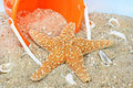 Starfish on beach with pail Stock Photo