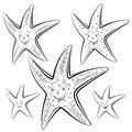 Starfish cartoon drawing style black on white Royalty Free Stock Images
