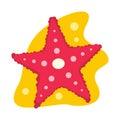 Starfish flat icon isolated on white background Royalty Free Stock Photo