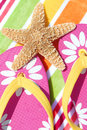 Starfish on flipflops Royalty Free Stock Photo