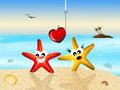 Starfish in love cartoon on the beach Stock Images