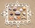 Starfishes and seashell with frame seashells rocks sign dream wood on the sandy beach Stock Photos