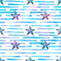 Starfishes and stripes seamless pattern. Sea, summer background.