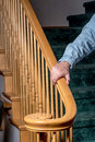 Staris and handrail is used for stability safety on stairs Royalty Free Stock Images
