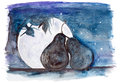 Starlit night of two fruit in love enamoured pear concept handmade watercolor painting illustration on a white paper art Stock Photography