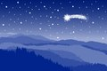 Starlit sky with shooting star vector illustration of a landscape a Stock Image