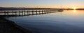 Starnberg lake and boardwalk at sunset tranquil scenery Stock Image