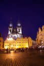 Staromestske namesti old town square in prague at night illuminated by lights Stock Photography