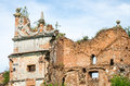 Staroselskiy castle in stare selo in the lviv old ruins of collapsed walls with gates and windows region Royalty Free Stock Photo