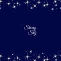 Starry frame on dark blue background Royalty Free Stock Photo