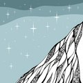 Starry night. Doodle drawing of mountain. Hand drawn vector illustration