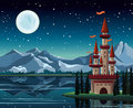 Starry night with full moon and castle red lake on a mountains background Stock Photos