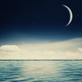 Starry night on the ocean abstract environmental backgrounds Royalty Free Stock Photo