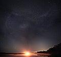 Starry night sky lake landscape Royalty Free Stock Photo