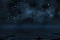 Starry night sky with stars and blue nebula