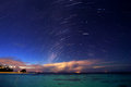 Starry night on tropical resort beautiful natural background many little stars in dark blue sky gorgeous landscape summertime Stock Photography