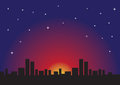 Starry night and urban cityscape silhouette of skyline against romantic evening vector illustration Stock Photography