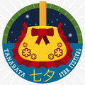 Starry Round Button with Kinchaku Purse Hanging for Tanabata Festival, Vector Illustration