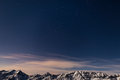 The starry sky above the Alps in winter, Orion Constellation Royalty Free Stock Photo