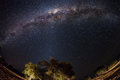 Starry sky and Milky Way arc, with details of its bright colorful core, captured with fisheye lens from the Namib desert in