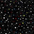 The starry sky of the universe. Abstract children`s simple space frame. Constellation of the Galaxy on a black seamless