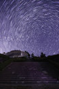Starry sky visible to the stairs of the previous full marks Royalty Free Stock Images