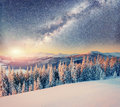 Starry sky in winter snowy night. Carpathians, Ukraine, Europe