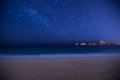Stars above beach and water in cabo san lucas over ocean Royalty Free Stock Photography