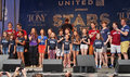 """Stars in the alley full cast of matilda sing when i grow up at """"stars """" a free outdoor concert accompanied by a live piece Stock Photography"""