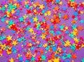 Stars confetti on a purple background Royalty Free Stock Photo
